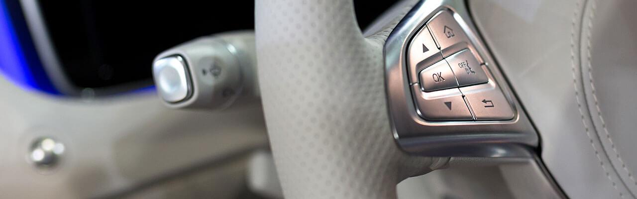 Close up of steering wheel